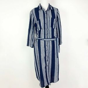 Kut From the Kloth Striped Button Down Shirt Dress